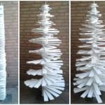 Vlak gedraaid en denneboom model kerstboom van planken.