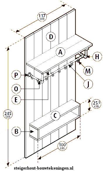 Doe het zelf voorbeeld om een kapstok met entreemeubel te maken van steigerbuis en steigerhout.