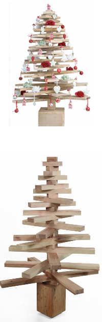 Kerstboom van planken, doe het zelf voorbeelden.