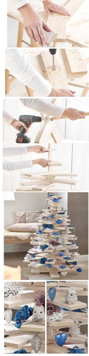 Kerstboom van plankjes maken.