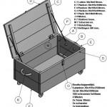 Doe het zelf bouwtekening om een verrijdbare kist te maken van oud of nieuw steigerhout.