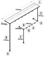 Kledingrek en kapstok onderdelen van steigerbuis, bouwtekening van muur montage.