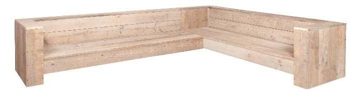 Maak een tuinbank van steigerhout, gratis voorbeelden voor een hoekbank.