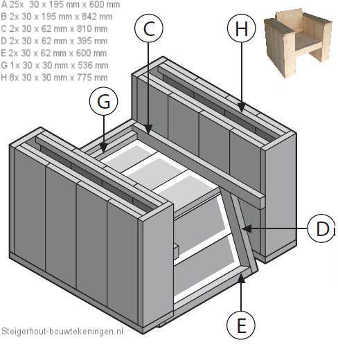 Idee houten bankje met rugleuning : Steigerhout tuinstoel XL - bouwtekening van de tuinstoel onderzijde.