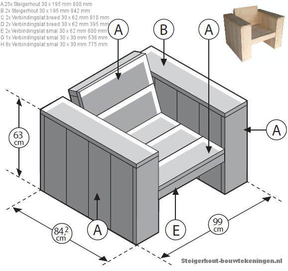 Loungeset met hoekbank en fauteuil maken van steigerhout for Loungeset steigerhout zelf maken