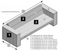Maak zelf banken van steigerhout met deze gratis bouwtekening.