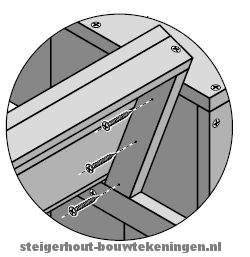 Houten tuinbank monteren bouwtekening voor steigerhout for Steigerhouten bank bouwtekening