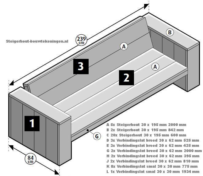Loungebank zelf maken van steigerhout met een gratis bouwtekening.