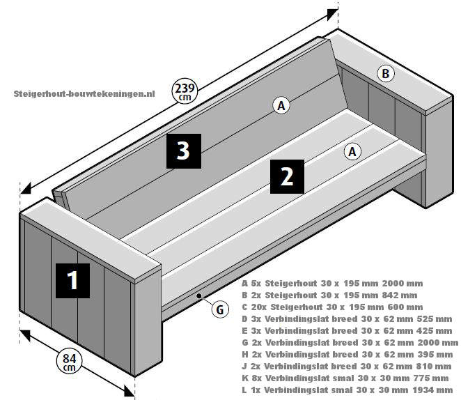 Loungebank bouwtekening tuinbank xl van steigerhout for Zitbank steigerhout