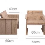 Tuinstoel van steigerhout basic model, de maten van het eindresultaat.