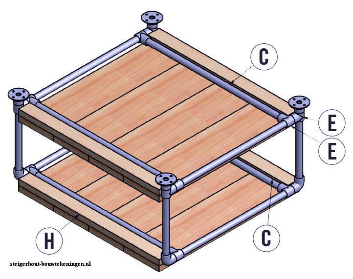 Tafel bouwtekening voor steigerbuis en buisverbinders for Bouwtekening tafel