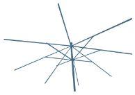 Metalen frame van een parasol.