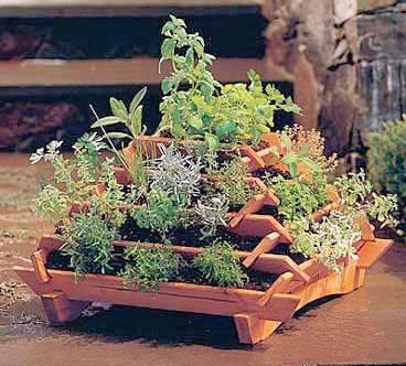 Houten plantenbak met het model van een piramide.