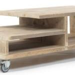 Doe het zelf steigerhout tv meubel op wielen.