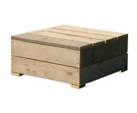 Maak zelf een lage loungetafel van steigerplanken voor bij de loungeset in de tuin.