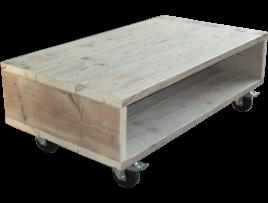 Salontafel van steigerhout op wielen - Voorbeeld van tuindecoratie ...