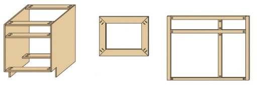 De schuin schroef houtverbindingen in verschillende soorten meubels.
