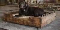 Steigerhout of sloophout hondenmand.
