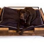 Hondenmand van sloophout op pootjes.