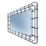 Heel eenvoudig om zelf te maken, een spandoekframe van steigerbuizen.