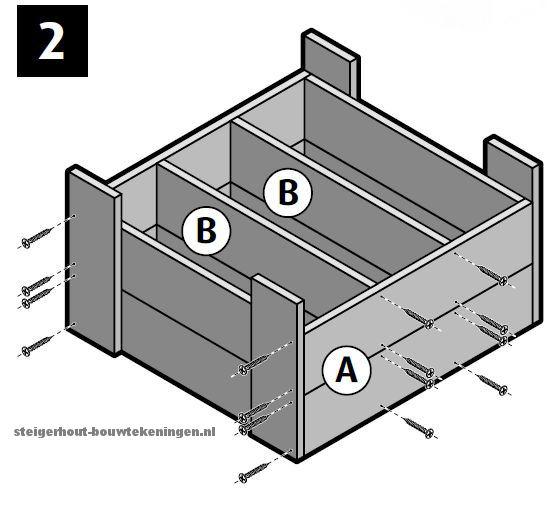 Steigerhout plantenbak bouwtekening voor een stadstuintje met vakverdeling stap 2.