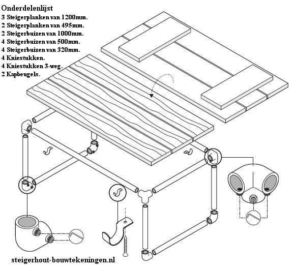 Onderdelen op bouwtekening om een steigerbuis bijzettafel te maken.