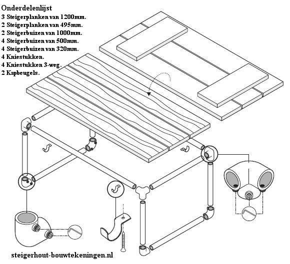Steigerbuis bijzettafel bouwtekening steigerhout en buizen for Bouwtekening tafel