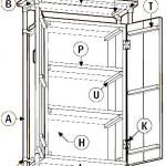 Gratis bouwtekening voor een kast van steigerbuizen en steigerplanken.