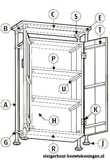 bouwtekening voor een kast van steigerbuizen en