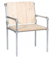 Steigerbuis stoel, doe het zelf eindresultaat van een bouwtekening om stoelen te maken van steigerbuis.