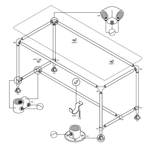 Tafel onderstel maken van steigerbuis op bouwtekening for Bouwtekening tafel
