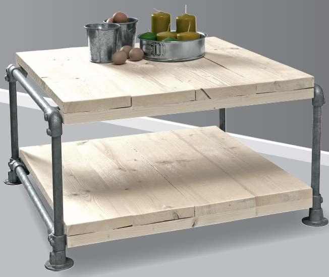 Tafel maken van steigerhout en buizen bouwtekening voor for Zelf tafel maken