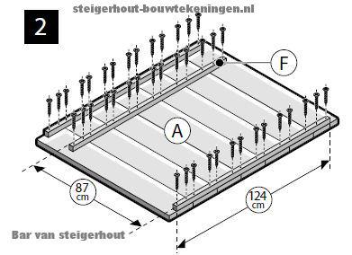 Montage van steigerhout met zelfborende schroeven.