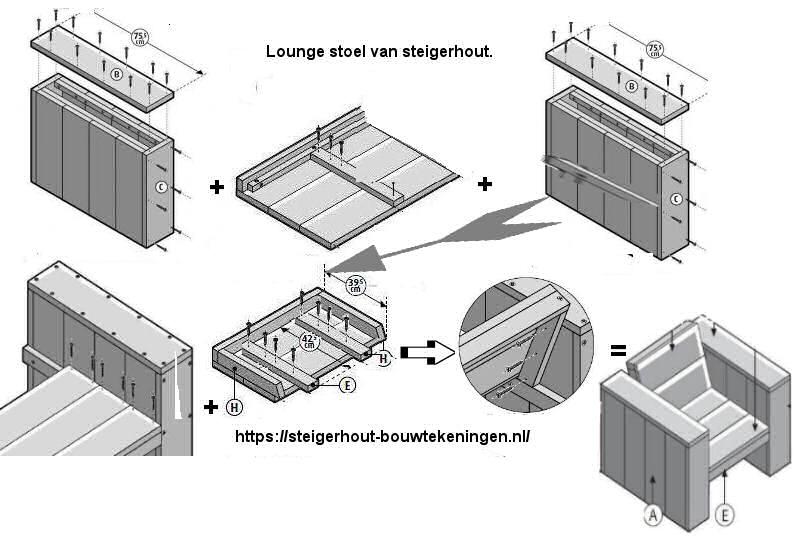 Gratis bouwtekening om een lounge tuinstoel te maken.
