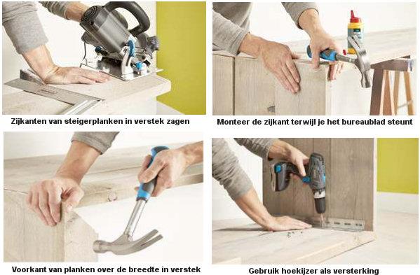 Steigerhout bureau zelf maken, doe het zelf handleiding