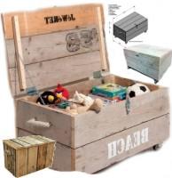 Kist op wielen, een dekenkist of als kist om speelgoed op te bergen. Een gratis doe het zelf bouwtekening voor steigerhout.