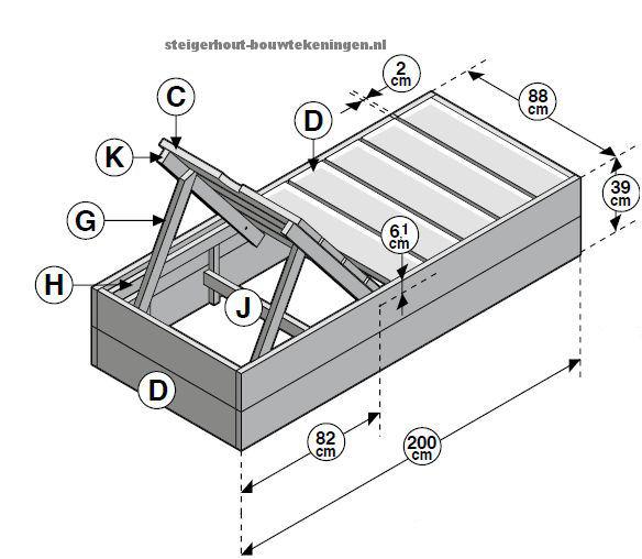 Gratis bouwtekening voor een houten ligbed, tuinbed van steigerhout met verstelbaar hoofdeinde.