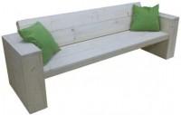 Steigerhout loungebank bouwpakket met voorgezaagd hout en bouwtekening.