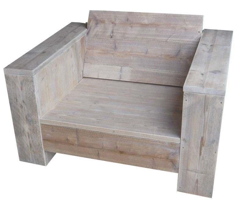 White wash steigerhout tuinstoel naar voorbeeld van de gratis bouwtekening.