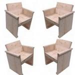 Dit model stoel kunt u gemakkelijk van steigerplanken maken met de bouwtekening hieronder.