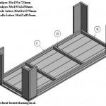 Op deze bouwtekening ziet u hoe het steigerhout voor de tuintafel wordt gemonteerd.