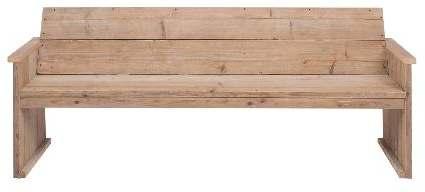 Blank vurenhouten tuinbank, white wash is een veel gebruikte afwerking voor steigerhout.