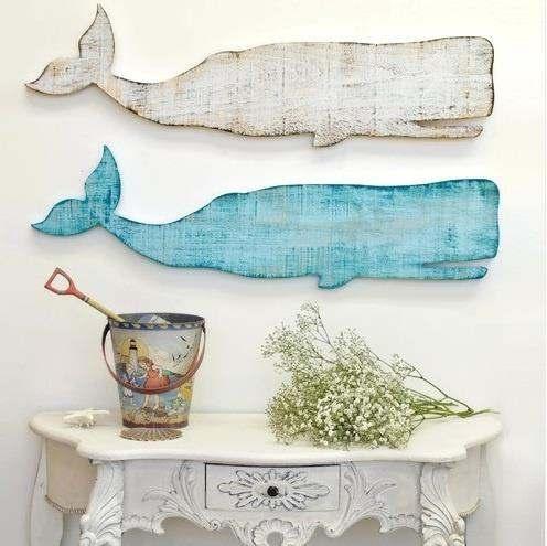 Walvis wanddecoratie van steigerhout.