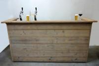 Bar van steigerhout naar voorbeeld van de bouwtekening hierboven.