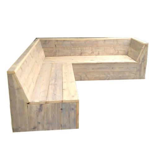 Maak zelf een tuinbank van steigerhout, houten hoekbank