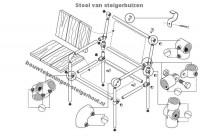 Voorbeeld om zelf een steigerbuis stoel te maken, doe het zelf bouwtekening.