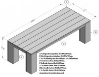 Gratis bouwtekening voor tuintafels van steigerhout.