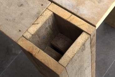 Tafelpoot van steigerhout met open bovenkant for Zelf een tuintafel maken