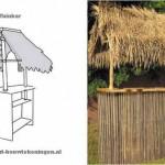 Bouwtekening voor een tuinbar met rieten dak.