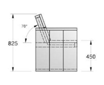 Tuinbank bouwtekening voor steigerhout, montage van de rugleuning.